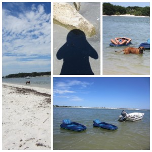 "Nyah chasing jet ski, shadow selfie, ""can I float too, daddy,"" Matanzas Inlet sandbar 2015_06_24"