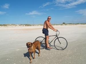 Russ and Nyah, early morning bike ride on Marineland Beach 2015_06_23