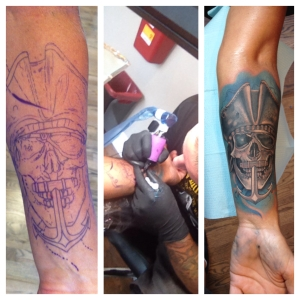 2015_07_13 Tattoo before, during, and after