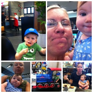 "2015_09_28 Food Court fun, Monta gets ""samples,"" Selfies w/ Gabby, Train ride, Sushi"