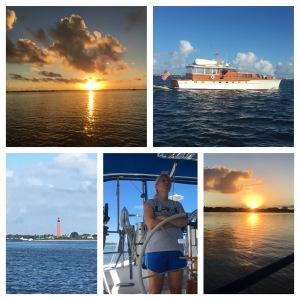 Sunrise in Daytona Beach, boat we liked along the way. Pounce Light, keeping watch, sunset Titusville.