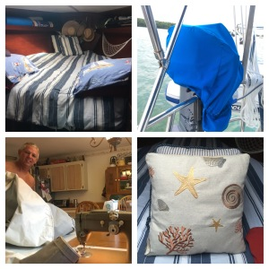 Comforter repair, new motor cover, canvas covers and helper, new pillow cover.