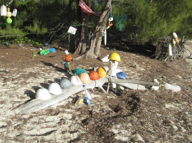 Hard hat collection at Powell Cay.